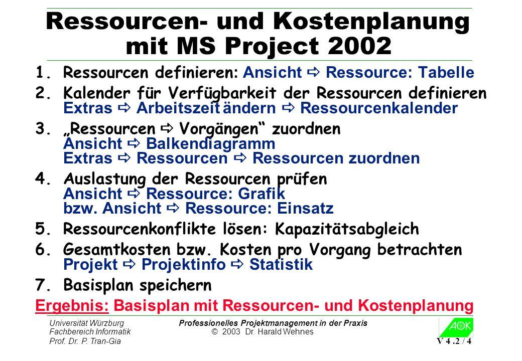 Universität Würzburg Professionelles Projektmanagement in der Praxis Fachbereich Informatik © 2003 Dr. Harald Wehnes Prof. Dr. P. Tran-Gia V 4.2 / 4 R