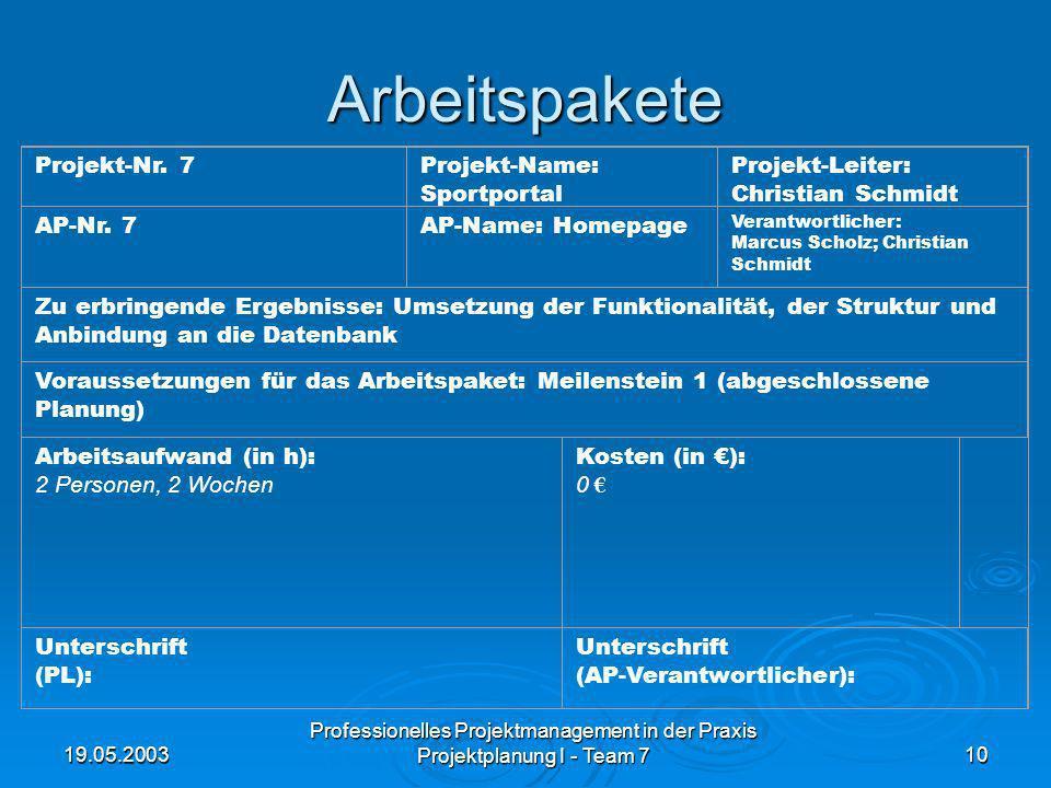 19.05.2003 Professionelles Projektmanagement in der Praxis Projektplanung I - Team 710 Arbeitspakete Projekt-Nr. 7Projekt-Name: Sportportal Projekt-Le