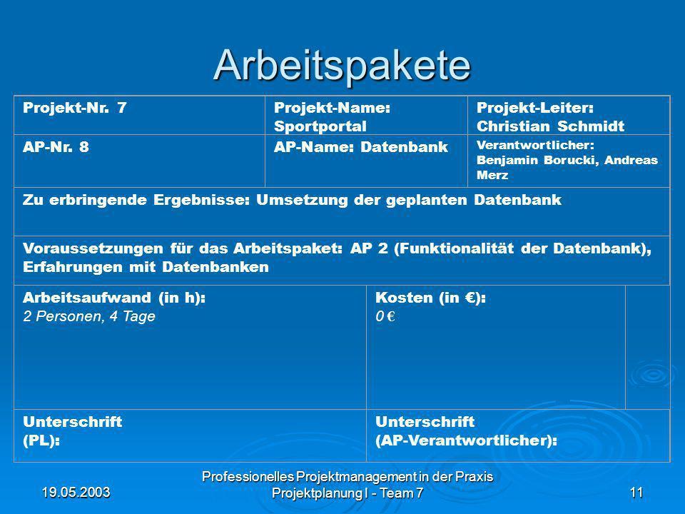19.05.2003 Professionelles Projektmanagement in der Praxis Projektplanung I - Team 711 Arbeitspakete Projekt-Nr. 7Projekt-Name: Sportportal Projekt-Le