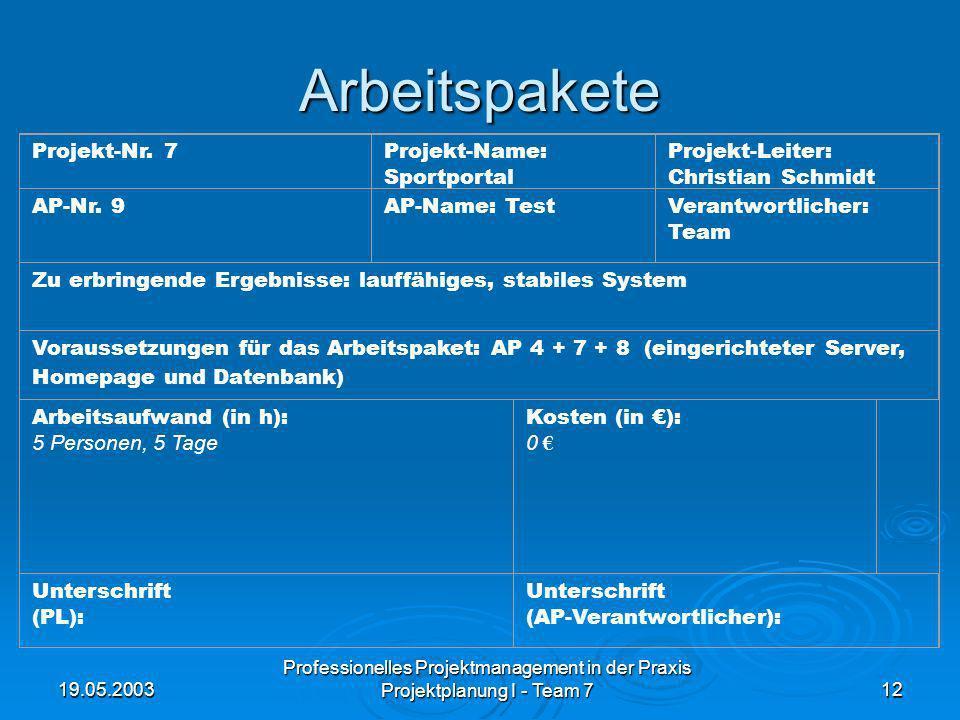 19.05.2003 Professionelles Projektmanagement in der Praxis Projektplanung I - Team 712 Arbeitspakete Projekt-Nr. 7Projekt-Name: Sportportal Projekt-Le