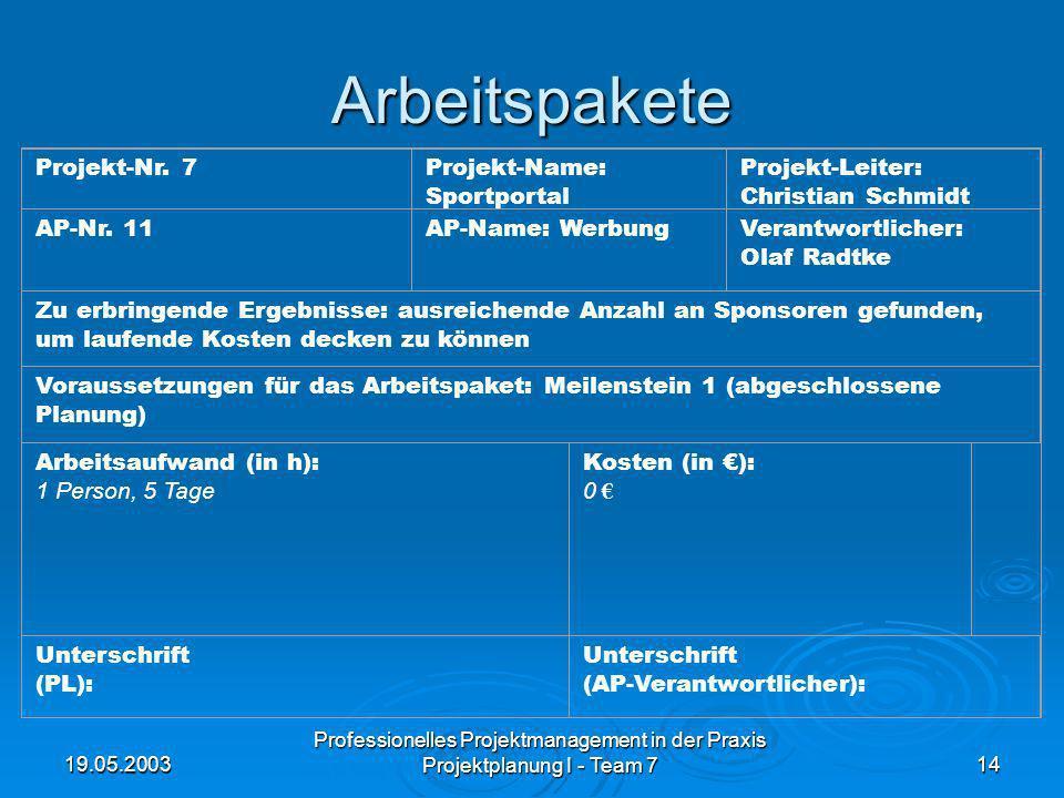 19.05.2003 Professionelles Projektmanagement in der Praxis Projektplanung I - Team 714 Arbeitspakete Projekt-Nr. 7Projekt-Name: Sportportal Projekt-Le