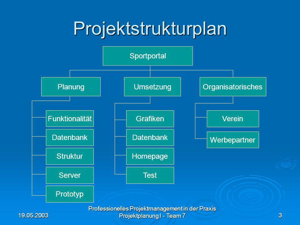 19.05.2003 Professionelles Projektmanagement in der Praxis Projektplanung I - Team 73 Projektstrukturplan Sportportal PlanungUmsetzungOrganisatorische