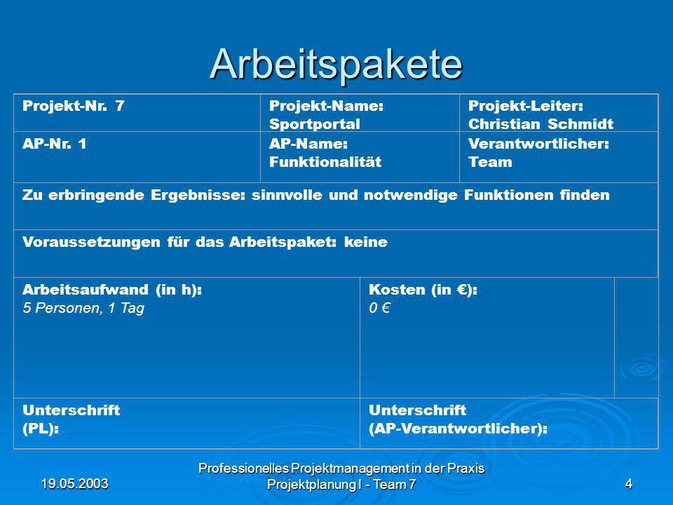 19.05.2003 Professionelles Projektmanagement in der Praxis Projektplanung I - Team 74 Arbeitspakete Projekt-Nr. 7Projekt-Name: Sportportal Projekt-Lei