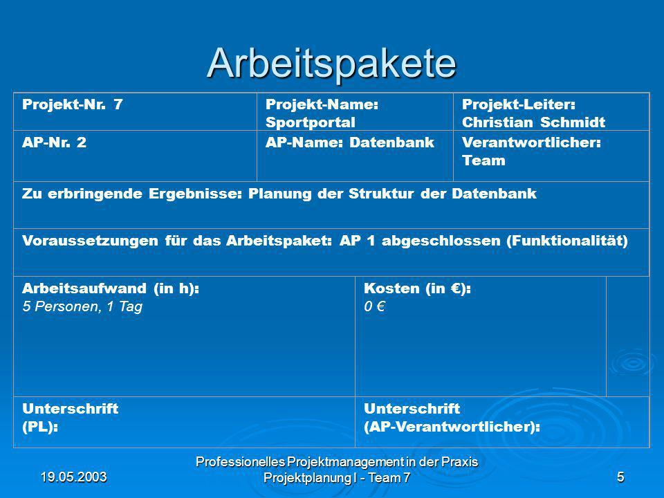 19.05.2003 Professionelles Projektmanagement in der Praxis Projektplanung I - Team 75 Arbeitspakete Projekt-Nr. 7Projekt-Name: Sportportal Projekt-Lei