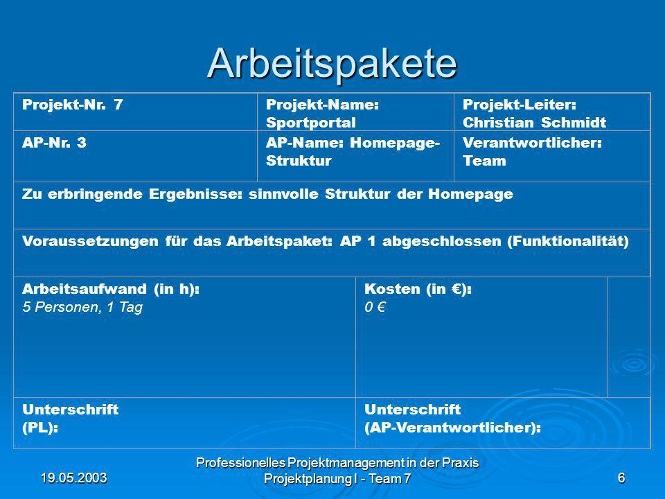 19.05.2003 Professionelles Projektmanagement in der Praxis Projektplanung I - Team 76 Arbeitspakete Projekt-Nr. 7Projekt-Name: Sportportal Projekt-Lei