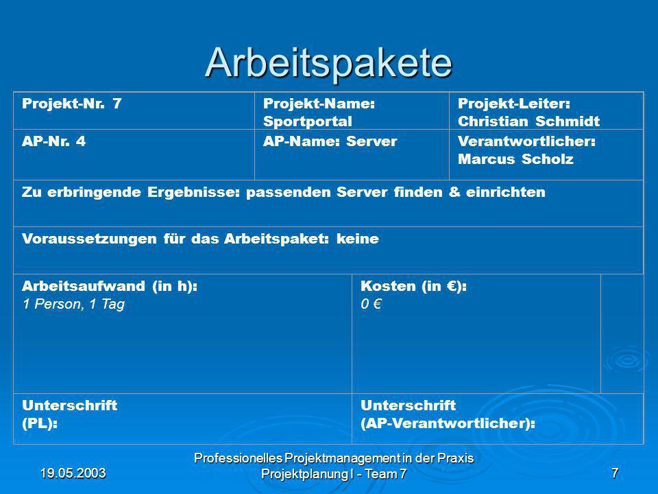 19.05.2003 Professionelles Projektmanagement in der Praxis Projektplanung I - Team 77 Arbeitspakete Projekt-Nr. 7Projekt-Name: Sportportal Projekt-Lei