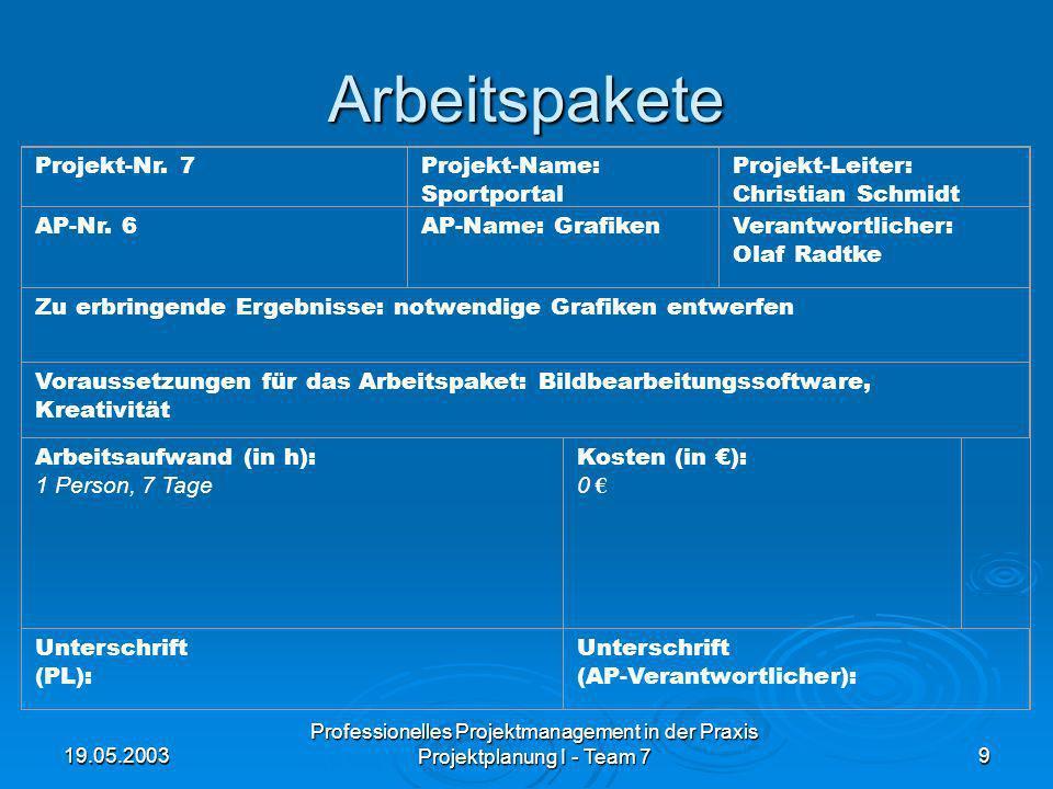 19.05.2003 Professionelles Projektmanagement in der Praxis Projektplanung I - Team 79 Arbeitspakete Projekt-Nr. 7Projekt-Name: Sportportal Projekt-Lei