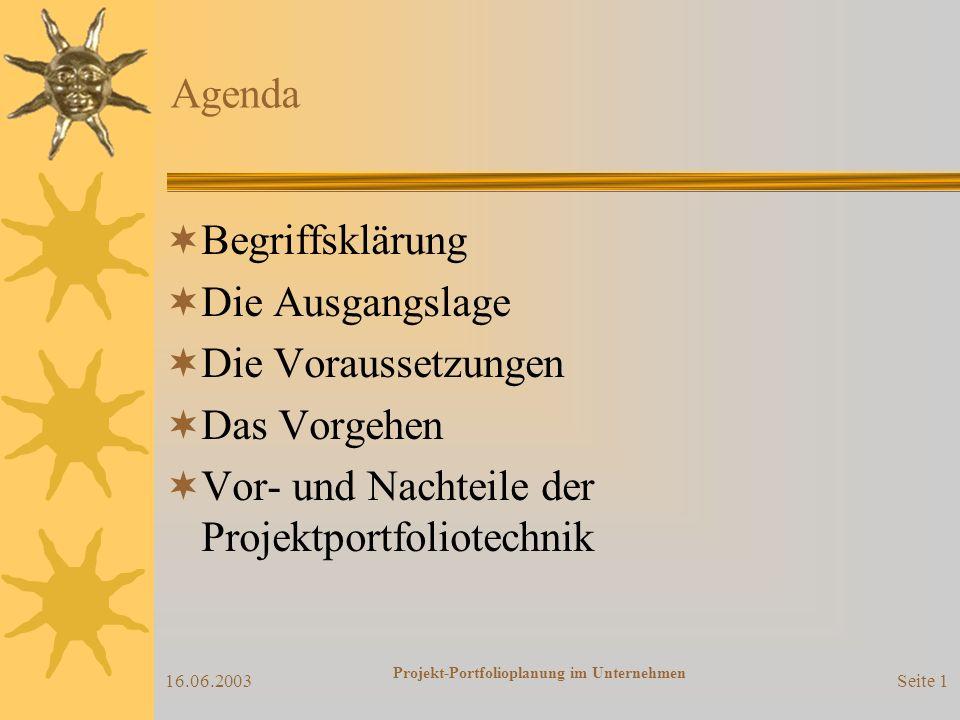 16.06.2003 Projekt-Portfolioplanung im Unternehmen Ein Vortrag von... Benjamin Borucki Andreas Merz