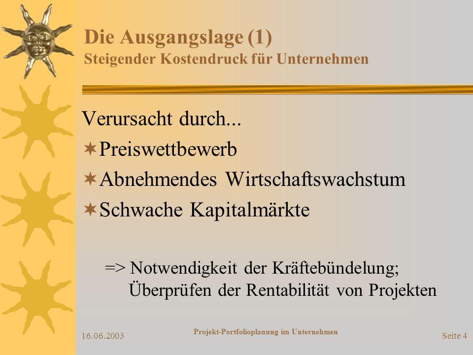 16.06.2003 Projekt-Portfolioplanung im Unternehmen Seite 4 Die Ausgangslage (1) Steigender Kostendruck für Unternehmen Verursacht durch...