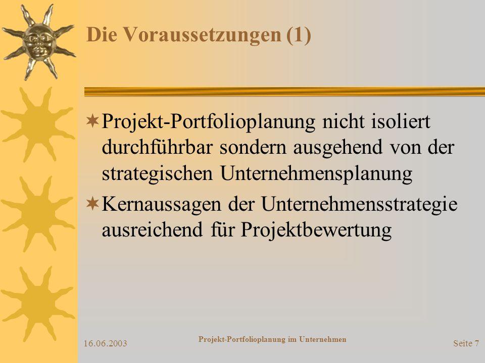 16.06.2003 Projekt-Portfolioplanung im Unternehmen Seite 6 Die Ausgangslage (3) Wichtige Fragen der Planung Welche Projekte...