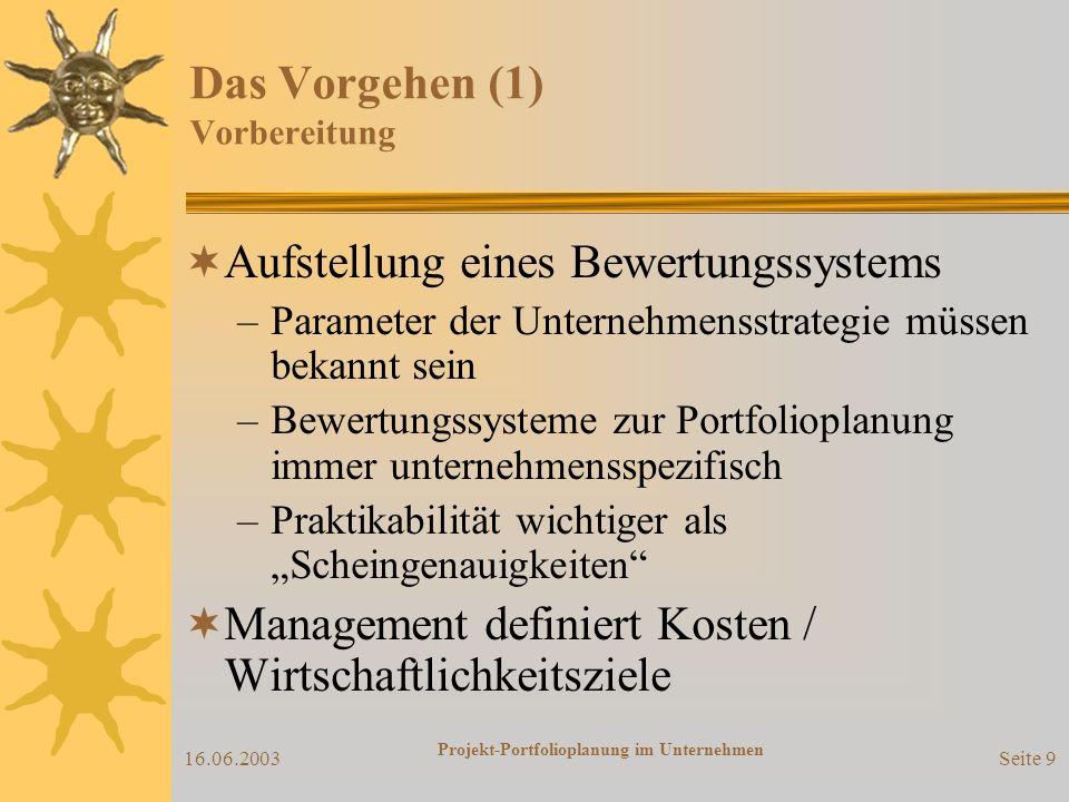 16.06.2003 Projekt-Portfolioplanung im Unternehmen Seite 9 Das Vorgehen (1) Vorbereitung Aufstellung eines Bewertungssystems –Parameter der Unternehmensstrategie müssen bekannt sein –Bewertungssysteme zur Portfolioplanung immer unternehmensspezifisch –Praktikabilität wichtiger als Scheingenauigkeiten Management definiert Kosten / Wirtschaftlichkeitsziele