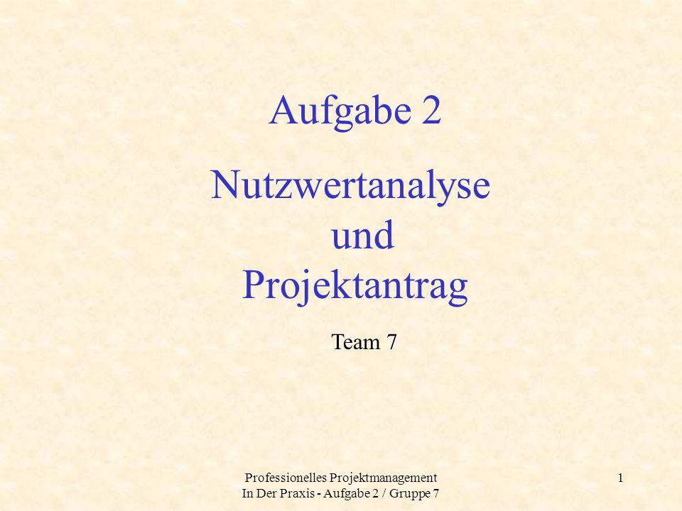 Professionelles Projektmanagement In Der Praxis - Aufgabe 2 / Gruppe 7 2 A.
