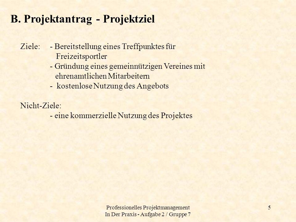 Professionelles Projektmanagement In Der Praxis - Aufgabe 2 / Gruppe 7 6 B.
