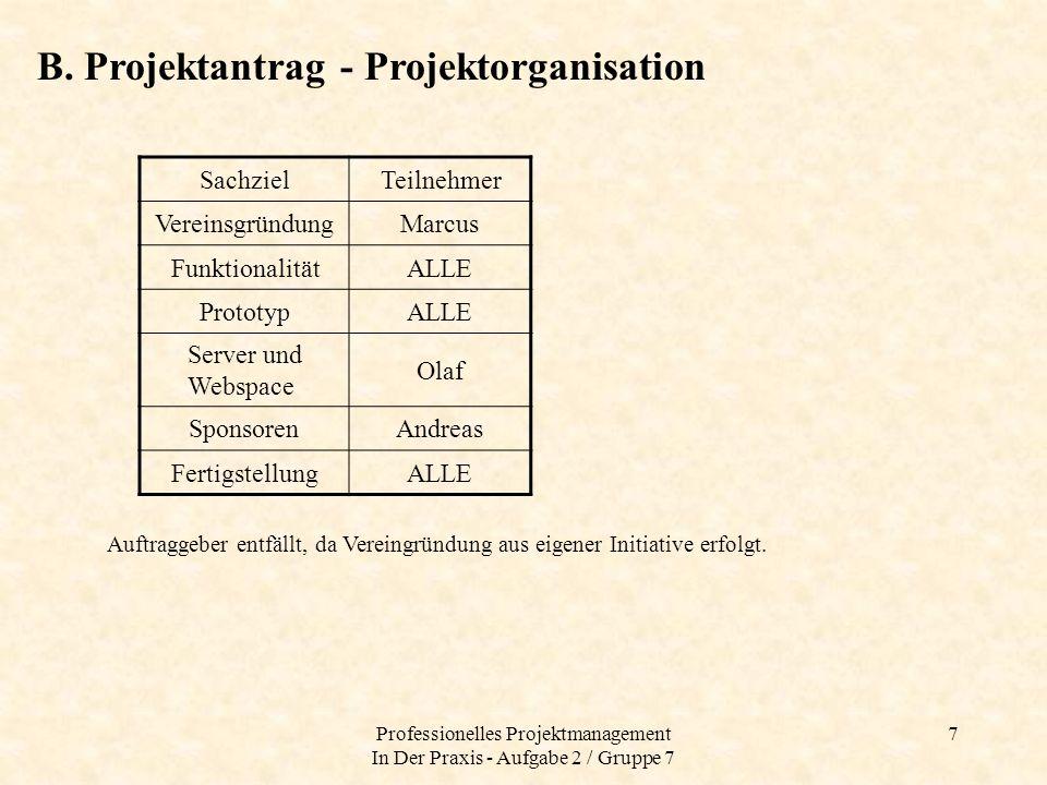 Professionelles Projektmanagement In Der Praxis - Aufgabe 2 / Gruppe 7 7 B. Projektantrag - Projektorganisation SachzielTeilnehmer VereinsgründungMarc