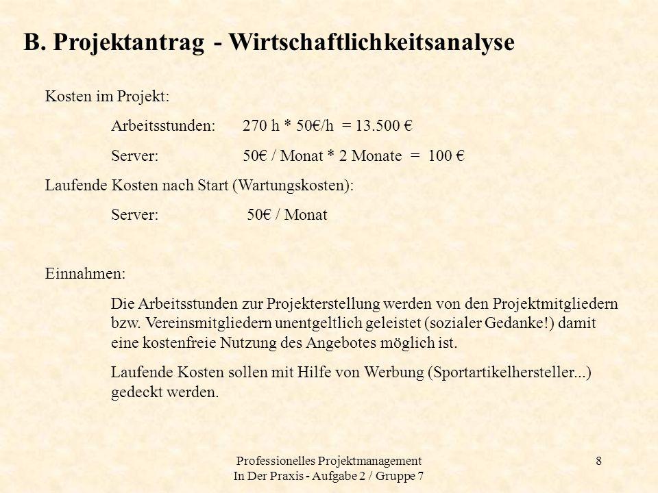 Professionelles Projektmanagement In Der Praxis - Aufgabe 2 / Gruppe 7 9 B.