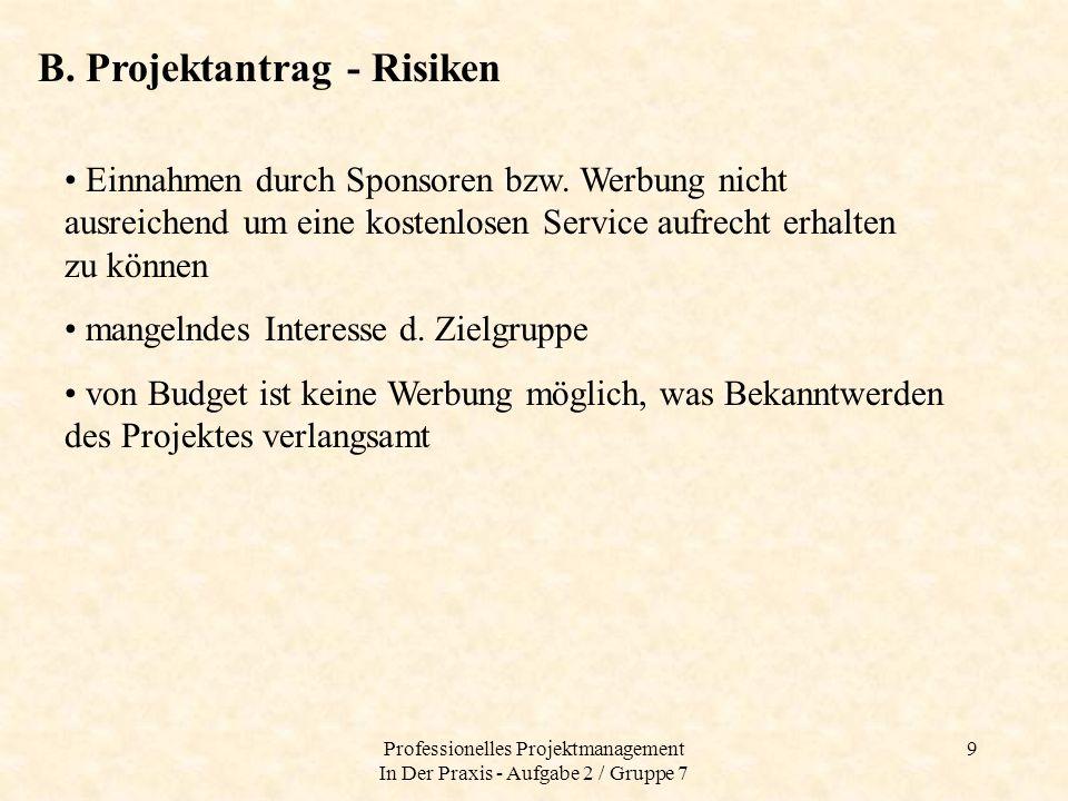 Professionelles Projektmanagement In Der Praxis - Aufgabe 2 / Gruppe 7 10 C.