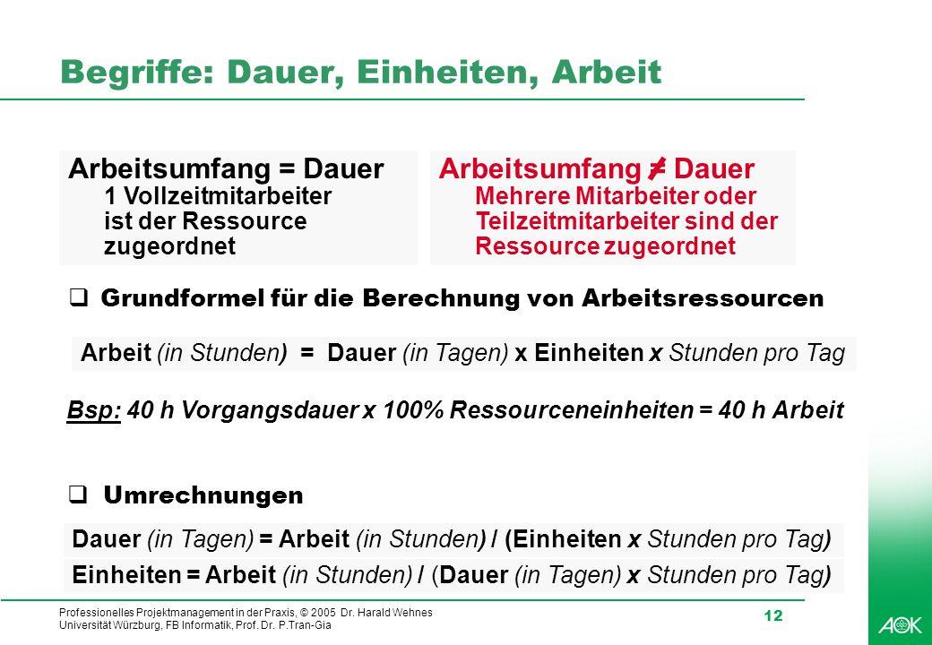 Professionelles Projektmanagement in der Praxis, © 2005 Dr. Harald Wehnes Universität Würzburg, FB Informatik, Prof. Dr. P.Tran-Gia 12 Begriffe: Dauer