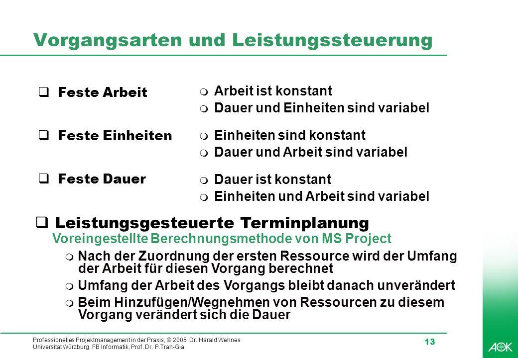 Professionelles Projektmanagement in der Praxis, © 2005 Dr. Harald Wehnes Universität Würzburg, FB Informatik, Prof. Dr. P.Tran-Gia 13 Vorgangsarten u