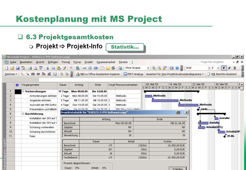 Professionelles Projektmanagement in der Praxis, © 2005 Dr. Harald Wehnes Universität Würzburg, FB Informatik, Prof. Dr. P.Tran-Gia 16 Kostenplanung m
