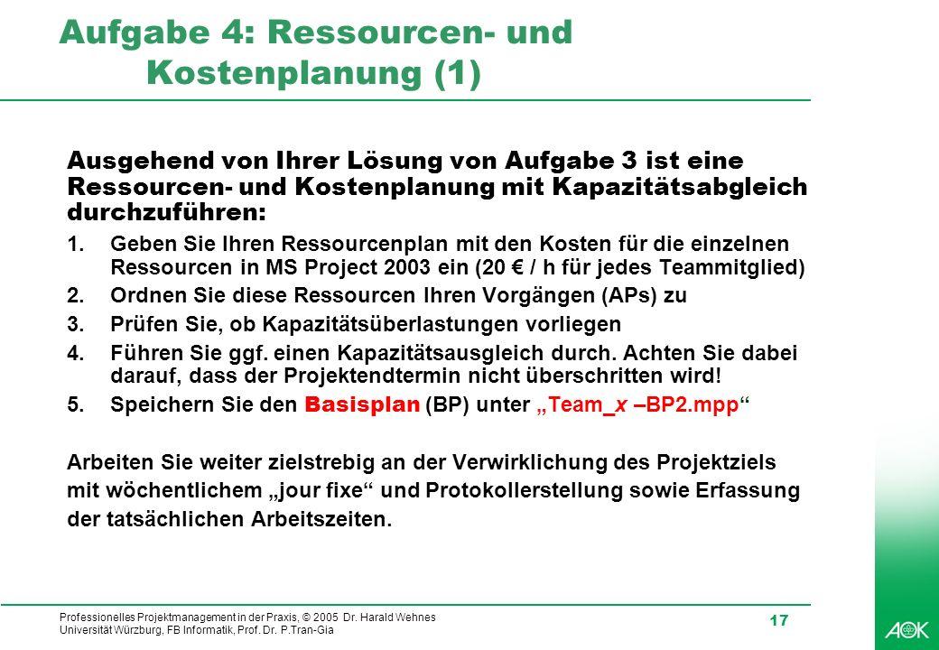 Professionelles Projektmanagement in der Praxis, © 2005 Dr. Harald Wehnes Universität Würzburg, FB Informatik, Prof. Dr. P.Tran-Gia 17 Aufgabe 4: Ress