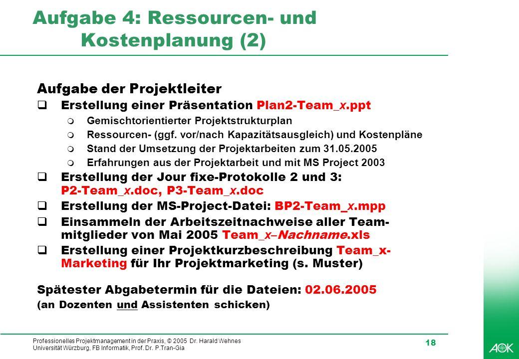 Professionelles Projektmanagement in der Praxis, © 2005 Dr. Harald Wehnes Universität Würzburg, FB Informatik, Prof. Dr. P.Tran-Gia 18 Aufgabe 4: Ress