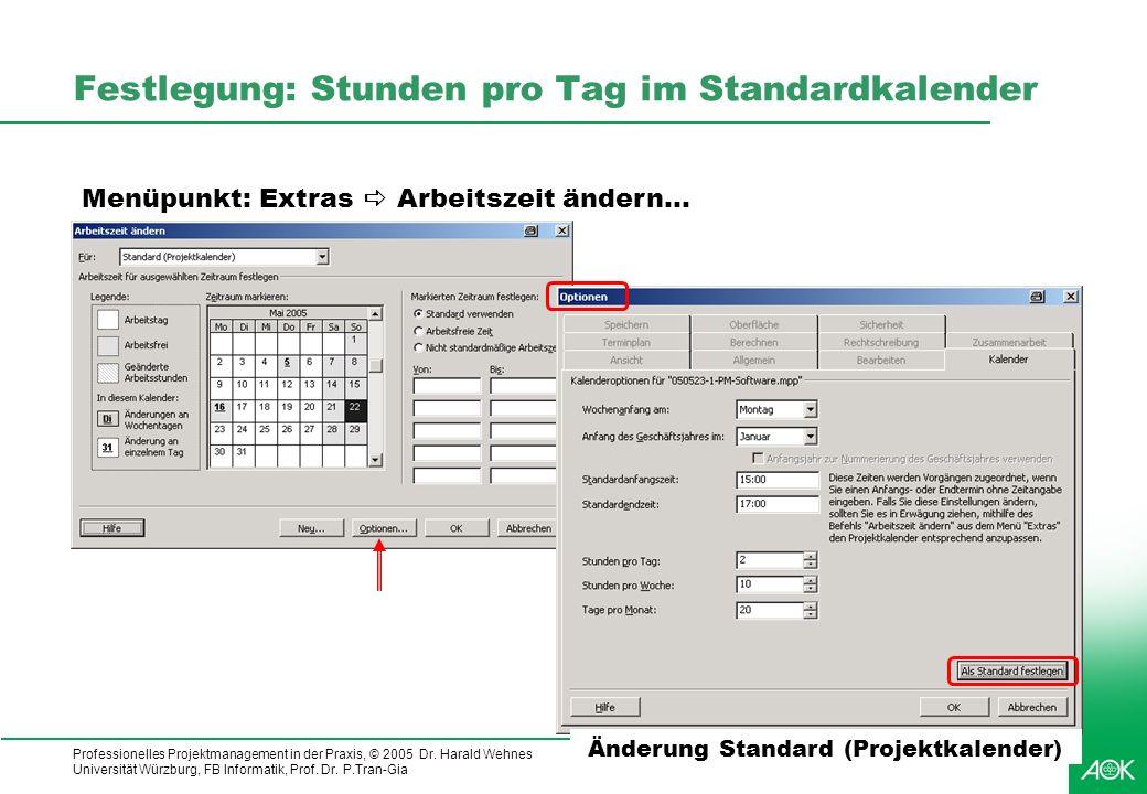 Professionelles Projektmanagement in der Praxis, © 2005 Dr. Harald Wehnes Universität Würzburg, FB Informatik, Prof. Dr. P.Tran-Gia 19 Festlegung: Stu