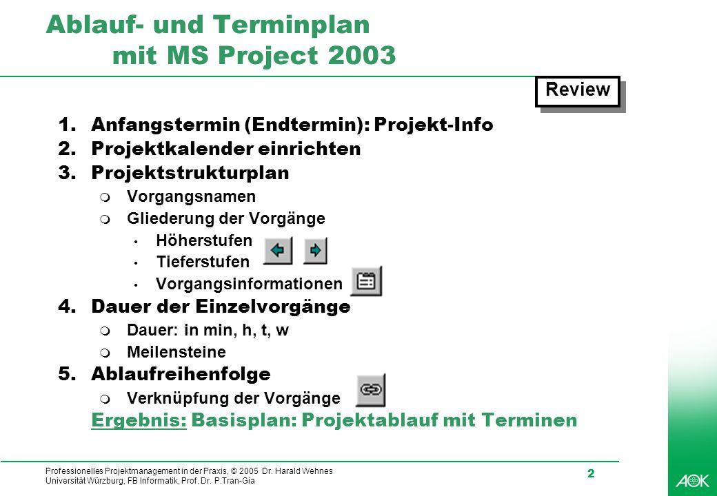 Professionelles Projektmanagement in der Praxis, © 2005 Dr. Harald Wehnes Universität Würzburg, FB Informatik, Prof. Dr. P.Tran-Gia 2 Ablauf- und Term