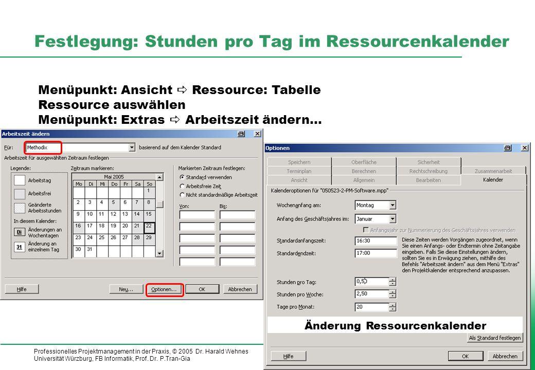 Professionelles Projektmanagement in der Praxis, © 2005 Dr. Harald Wehnes Universität Würzburg, FB Informatik, Prof. Dr. P.Tran-Gia 20 Festlegung: Stu