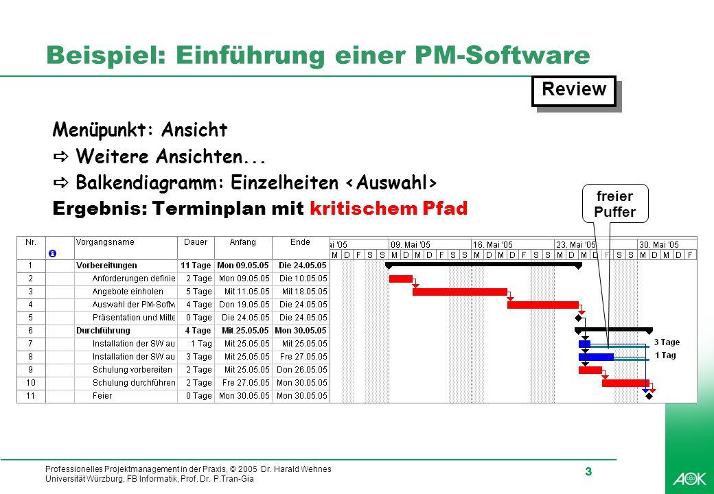 Professionelles Projektmanagement in der Praxis, © 2005 Dr. Harald Wehnes Universität Würzburg, FB Informatik, Prof. Dr. P.Tran-Gia 3 Beispiel: Einfüh