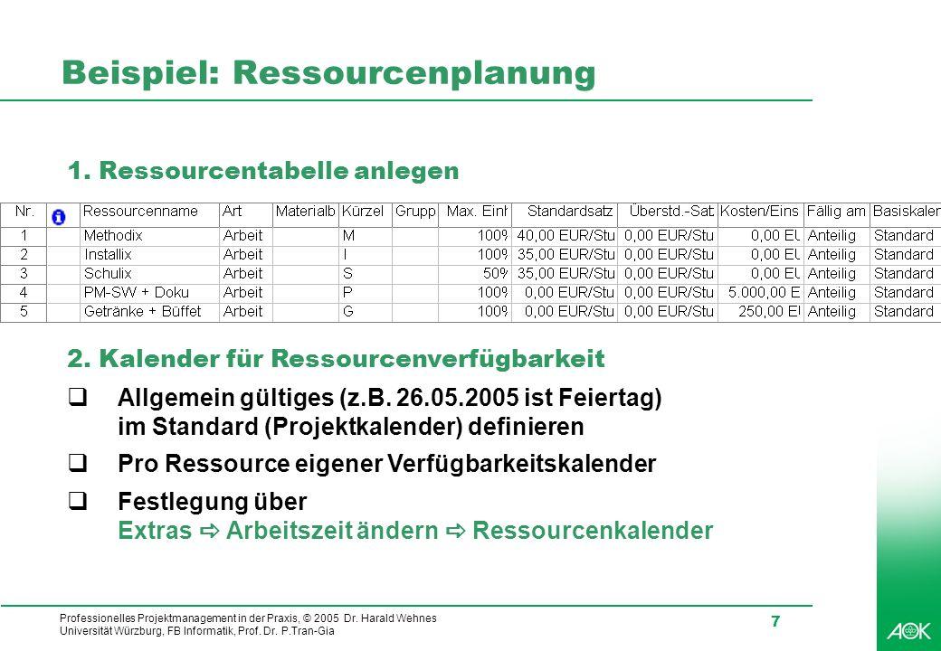 Professionelles Projektmanagement in der Praxis, © 2005 Dr. Harald Wehnes Universität Würzburg, FB Informatik, Prof. Dr. P.Tran-Gia 7 Beispiel: Ressou