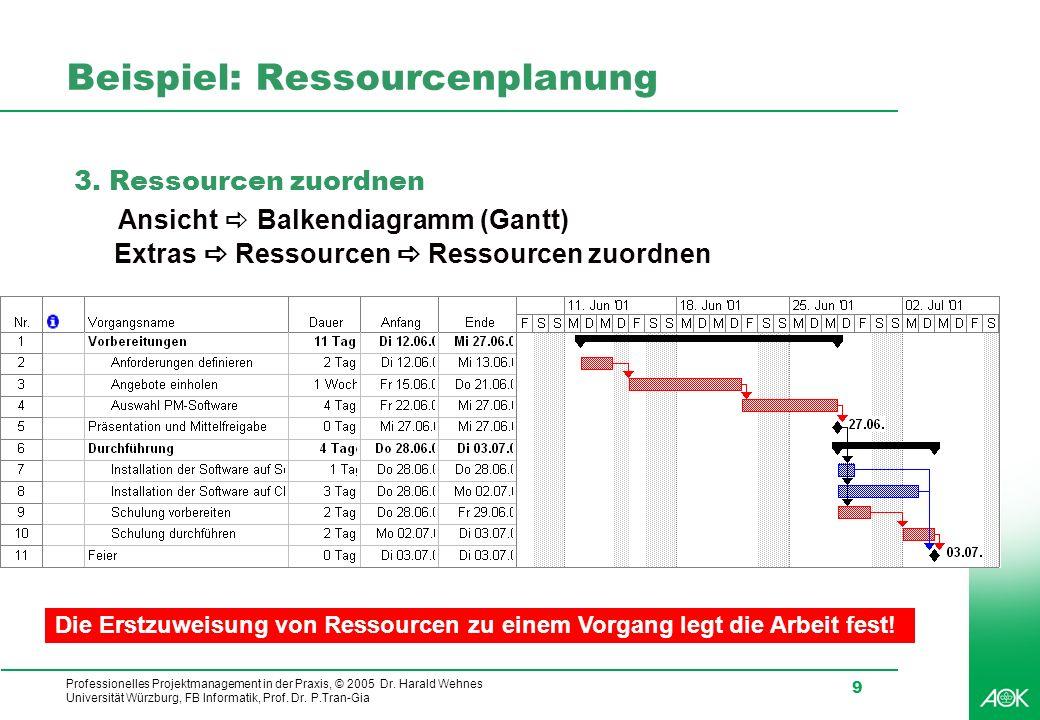 Professionelles Projektmanagement in der Praxis, © 2005 Dr. Harald Wehnes Universität Würzburg, FB Informatik, Prof. Dr. P.Tran-Gia 9 Beispiel: Ressou