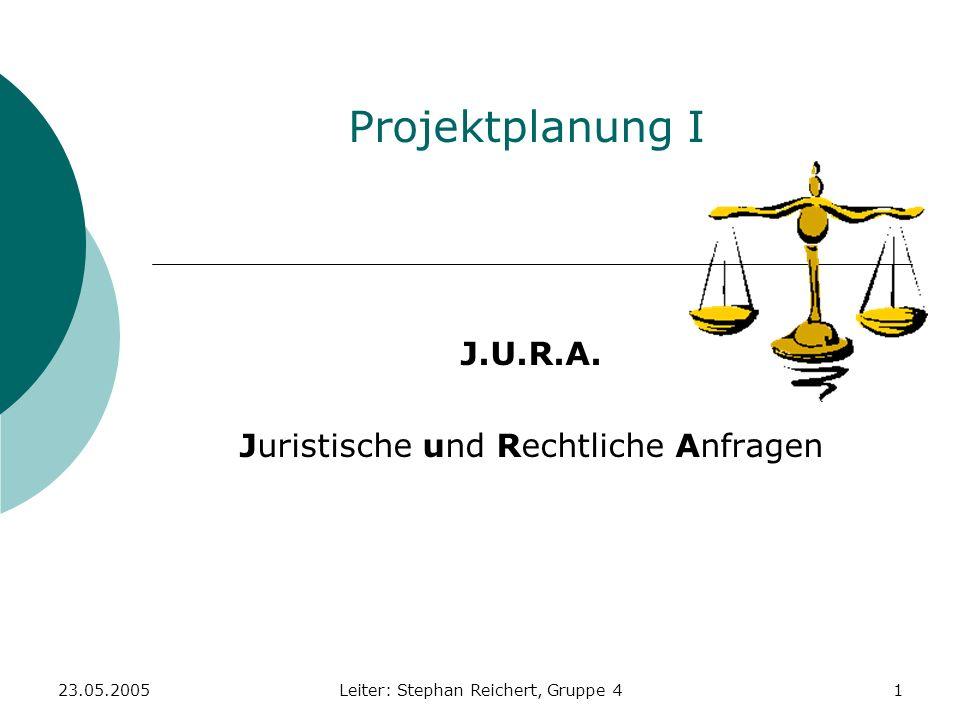 23.05.2005Leiter: Stephan Reichert, Gruppe 422 Arbeitspaket 12 Projekt-Nr.:4Projektname: J.U.R.A.Projektleiter: AP-Nr.: 12AP-Name: Anwälte eintragen AP-Verantwortlicher: Burkhard Meißner Erwartete Ergebnisse: Alle gefundenen Anwälte sind in der Datenbank eingetragen Vorraussetzungen: 7, 11 Beteiligte: Aufwand (in Stunden) Burkhard Meißner: 10 Gesamt: 10 h Kosten (in ): Personalkosten (20/h): 200 Gesamt: 200 AP-Start (Datum): 20.05.05AP-Ende (Datum): 24.05.05 Unterschrift: (Projektleiter) Unterschrift: (AP-Verantwortlicher)