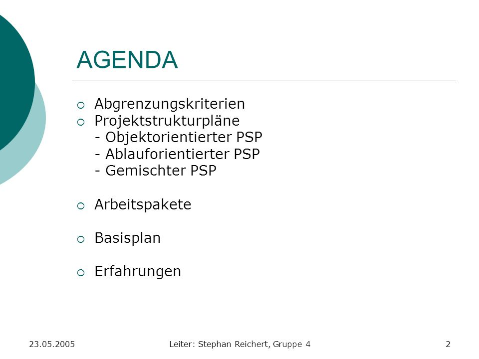 23.05.2005Leiter: Stephan Reichert, Gruppe 42 AGENDA Abgrenzungskriterien Projektstrukturpläne - Objektorientierter PSP - Ablauforientierter PSP - Gem