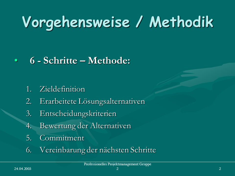 24.04.2003 Professionelles Projektmanagement Gruppe 23 1.