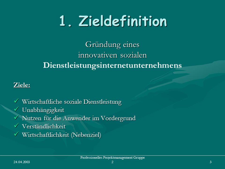 24.04.2003 Professionelles Projektmanagement Gruppe 24 2.