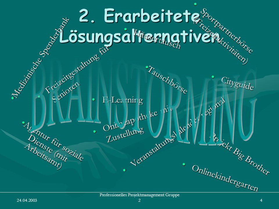 24.04.2003 Professionelles Projektmanagement Gruppe 24 2. Erarbeitete Lösungsalternativen E-LearningE-Learning S p o r t p a r t n e r b ö r s e ( F r
