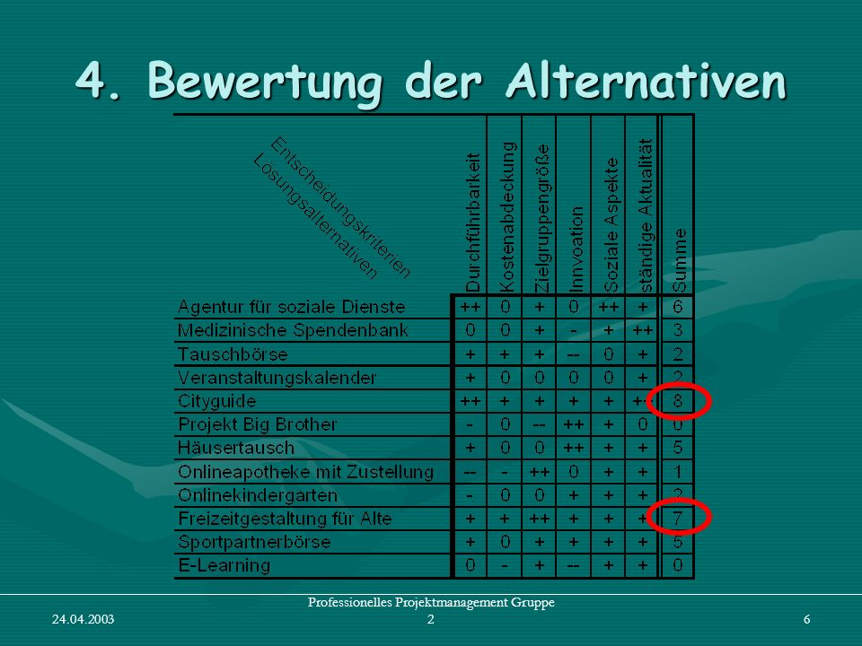 24.04.2003 Professionelles Projektmanagement Gruppe 26 4. Bewertung der Alternativen