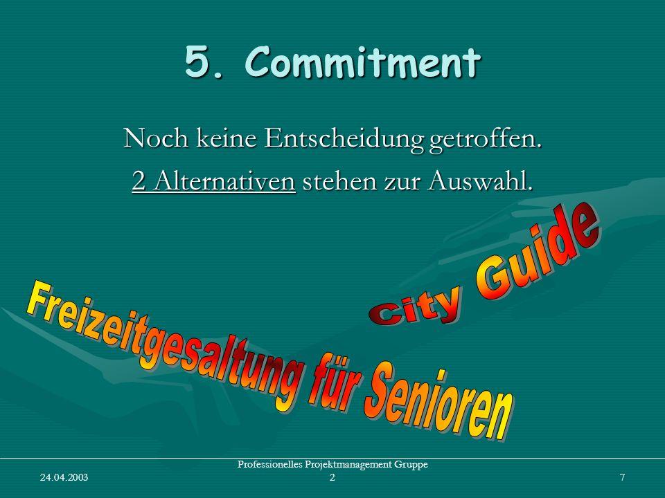 24.04.2003 Professionelles Projektmanagement Gruppe 27 5. Commitment Noch keine Entscheidung getroffen. 2 Alternativen stehen zur Auswahl.