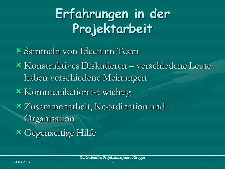 24.04.2003 Professionelles Projektmanagement Gruppe 29 Erfahrungen in der Projektarbeit Sammeln von Ideen im Team Sammeln von Ideen im Team Konstrukti