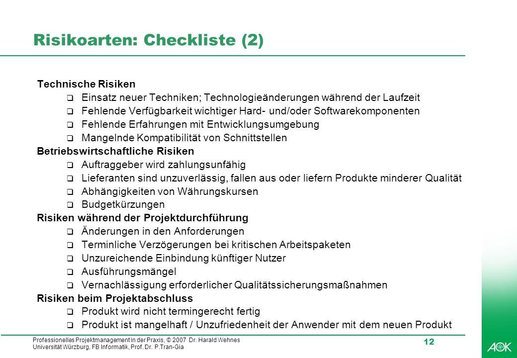 Professionelles Projektmanagement in der Praxis, © 2007 Dr. Harald Wehnes Universität Würzburg, FB Informatik, Prof. Dr. P.Tran-Gia 12 Risikoarten: Ch