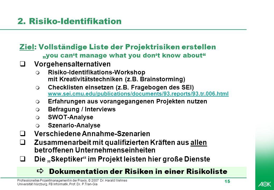 Professionelles Projektmanagement in der Praxis, © 2007 Dr. Harald Wehnes Universität Würzburg, FB Informatik, Prof. Dr. P.Tran-Gia 15 2. Risiko-Ident
