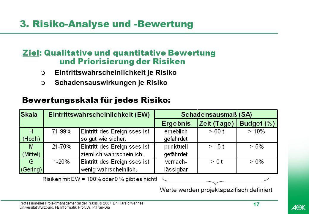 Professionelles Projektmanagement in der Praxis, © 2007 Dr. Harald Wehnes Universität Würzburg, FB Informatik, Prof. Dr. P.Tran-Gia 17 3. Risiko-Analy