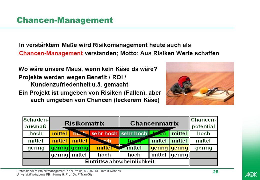 Professionelles Projektmanagement in der Praxis, © 2007 Dr. Harald Wehnes Universität Würzburg, FB Informatik, Prof. Dr. P.Tran-Gia 25 Chancen-Managem