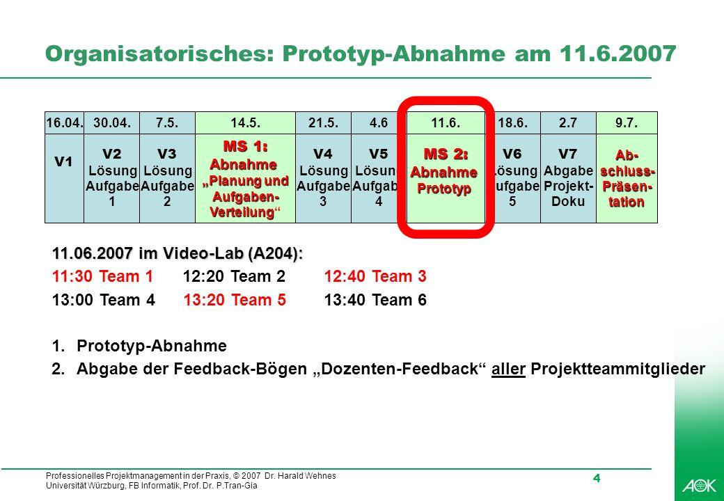 Professionelles Projektmanagement in der Praxis, © 2007 Dr. Harald Wehnes Universität Würzburg, FB Informatik, Prof. Dr. P.Tran-Gia 4 Organisatorische