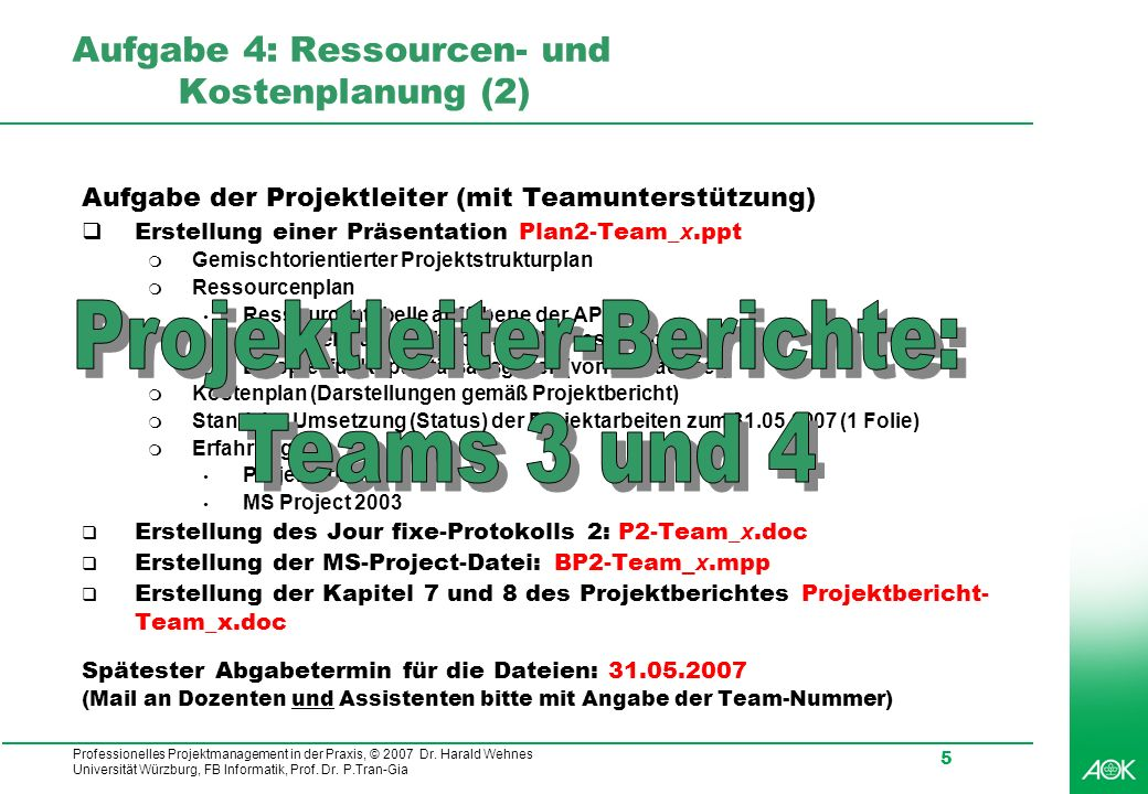 Professionelles Projektmanagement in der Praxis, © 2007 Dr. Harald Wehnes Universität Würzburg, FB Informatik, Prof. Dr. P.Tran-Gia 5 Aufgabe 4: Resso