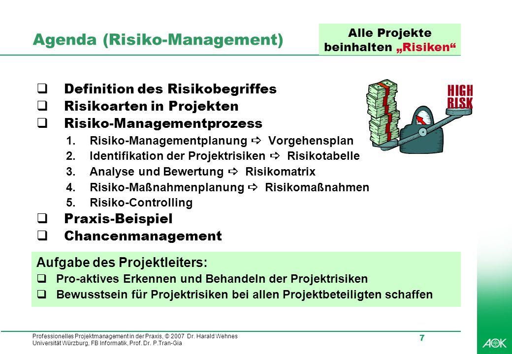 Professionelles Projektmanagement in der Praxis, © 2007 Dr. Harald Wehnes Universität Würzburg, FB Informatik, Prof. Dr. P.Tran-Gia 7 Agenda (Risiko-M