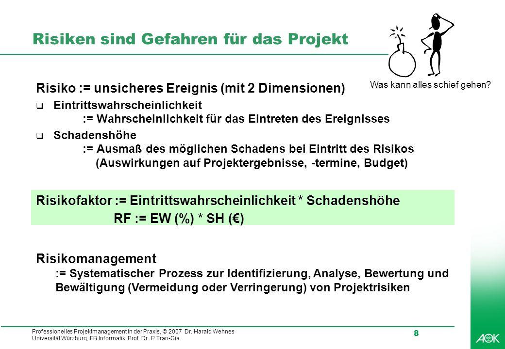 Professionelles Projektmanagement in der Praxis, © 2007 Dr. Harald Wehnes Universität Würzburg, FB Informatik, Prof. Dr. P.Tran-Gia 8 Risiken sind Gef