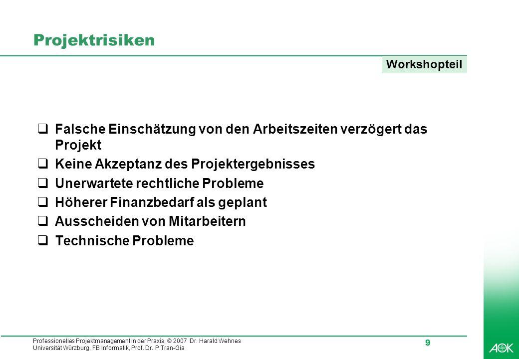 Professionelles Projektmanagement in der Praxis, © 2007 Dr. Harald Wehnes Universität Würzburg, FB Informatik, Prof. Dr. P.Tran-Gia 9 Projektrisiken F