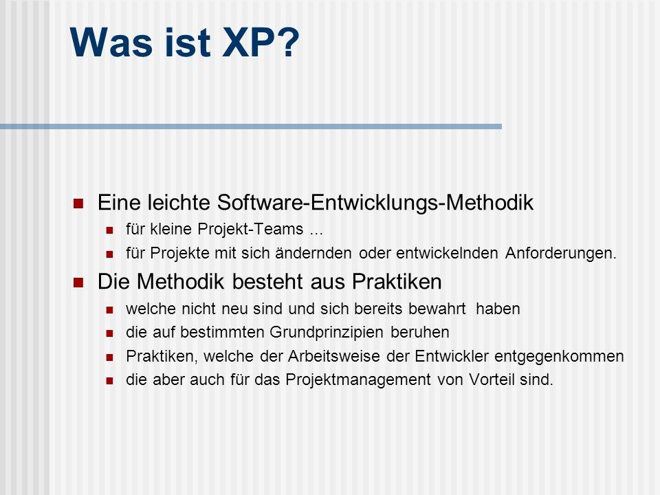 Was ist XP? Eine leichte Software-Entwicklungs-Methodik für kleine Projekt-Teams... für Projekte mit sich ändernden oder entwickelnden Anforderungen.