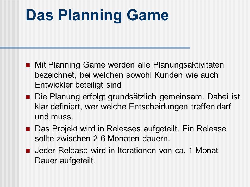 Das Planning Game Mit Planning Game werden alle Planungsaktivitäten bezeichnet, bei welchen sowohl Kunden wie auch Entwickler beteiligt sind Die Planu